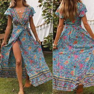 - - Bohemian floral maxi dress womens wrap dress